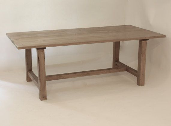 Salvaged Wood Trestle Gray Dining Table 72x36 Cecil Place Design
