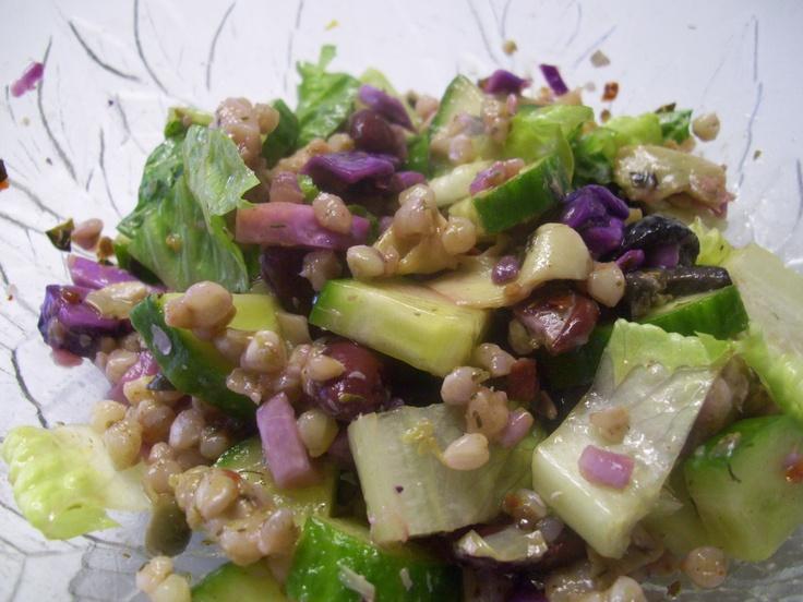 cold salad (added cucumber, romaine, & balsamic salad dressing) & war...