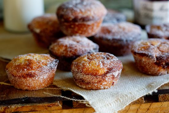 Baked doughnut muffins with blueberry jam http://simply-delicious.co ...