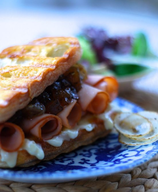 maple glazed turkey brie panini with caramelized onions and harvest ...