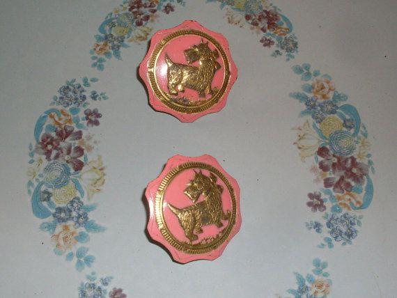Brass Colored Metal Scottie Dog Push Pins, Curtain Tie Backs, Curtain ...