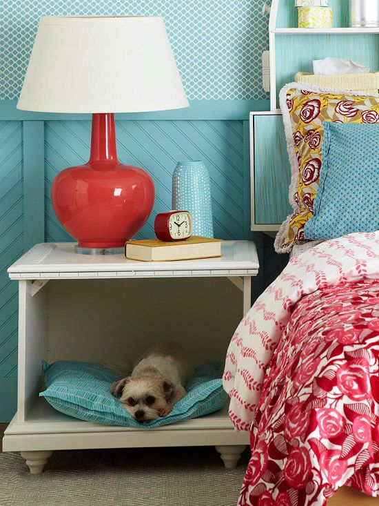 Dog bed in a bedside table