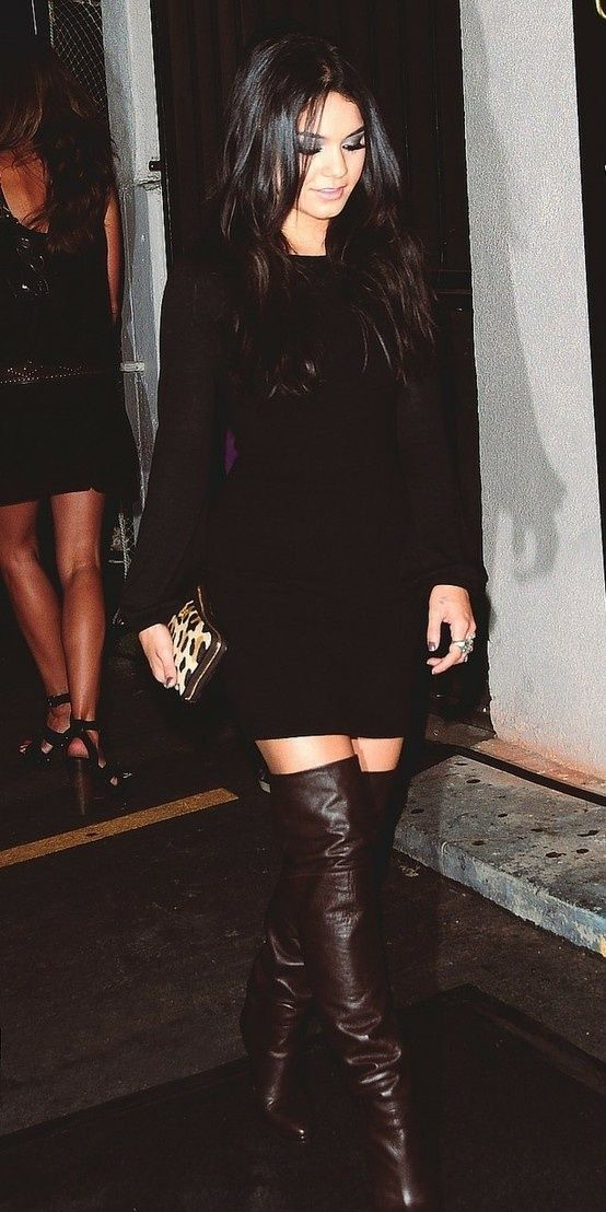 black dress with brown boots covet