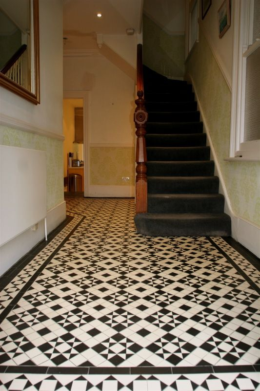 Victorian hallway halls pinterest for Tiled hallway floor ideas