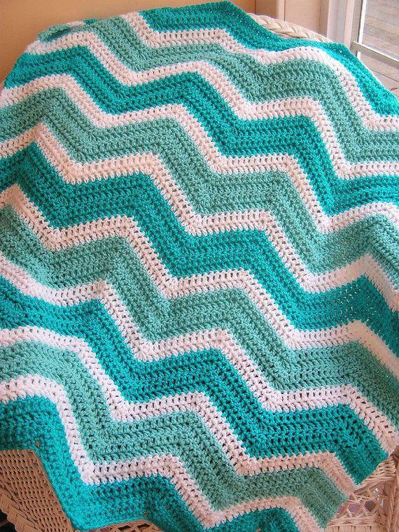 Crochet Zig Zag Baby Blanket : chevron zig zag baby blanket afghan crochet knit wrap lap wheelchair ...