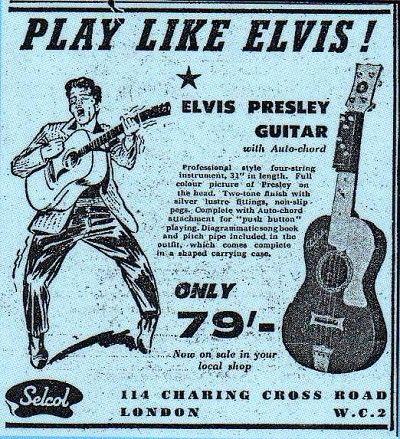 vintage guitar ads depiction set