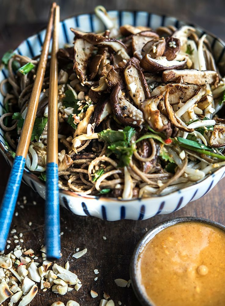 Soba with shiitakes and spicy peanut-tahini dressing