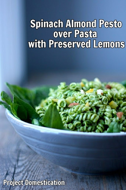 Spinach Almond Pesto over Pasta with Preserved Lemons