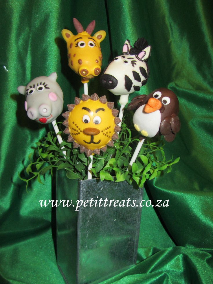 Madagascar (the movie) Character Cake Pops - giraffe, hippo, zebra, lion & penguin