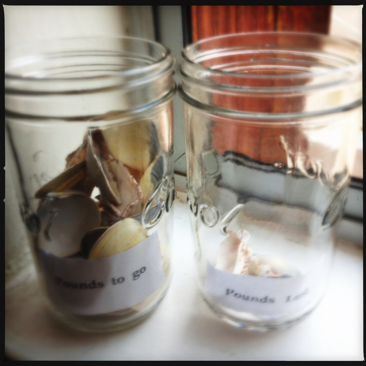 "Motivational jar , i am trying to loose weight , two jars filled with shells each represents 1lbs of weight to loose ( fill with as many as you need that reflect your target , as time goes on jar ""to loose"" should empty and weigh lost should fill up nicely :)"