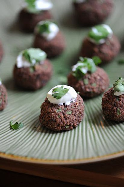 Black Bean Cakes with Mango-Lime Crema Recipe. Very tasty. Be careful ...