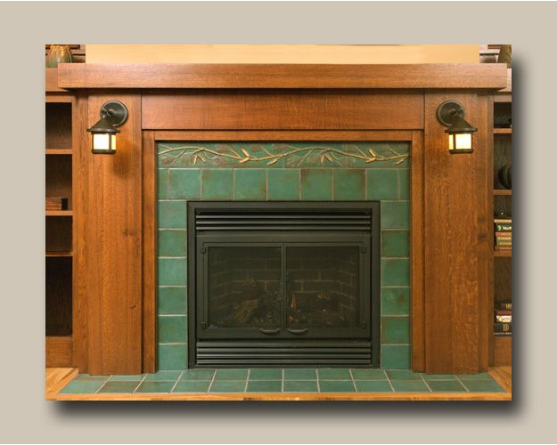 Pine fireplace arts crafts style home decor pinterest for Arts and crafts fireplace tile