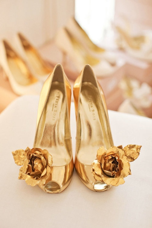 golden flower shoes