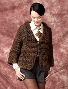 """DROPS crochet jacket in """"Ice"""" with dc-group pattern"""