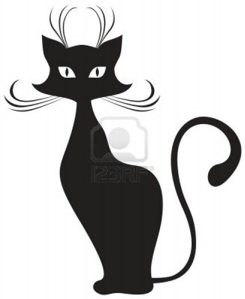 cat silhouette ... Free Clipart Of Siamese Cats