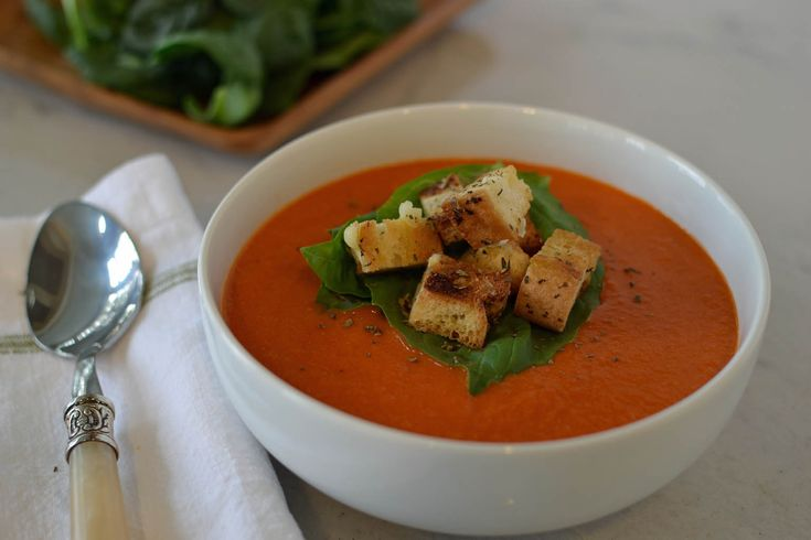 Tomato Soup with Roasted Garlic and Herbed Croutons