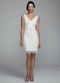 DB Studio Short Beaded Tank Dress with V Neckline, Style 061896880 #davidsbridal #bridalshower #littlewhitedress