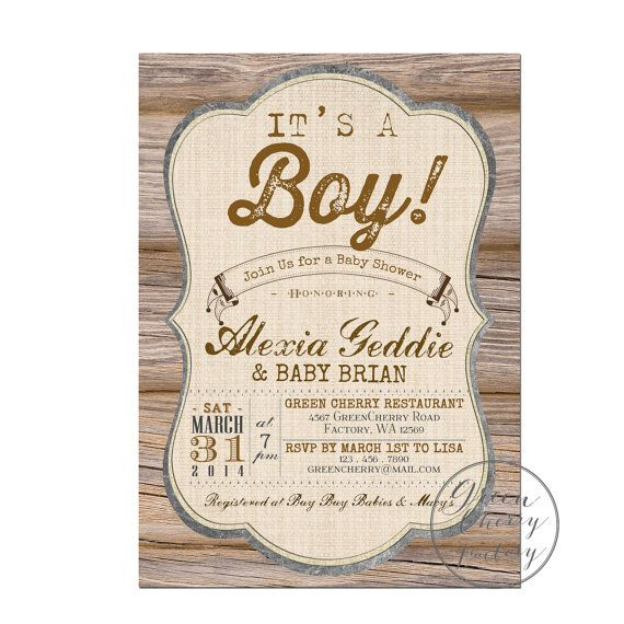 rustic baby shower invitation it 39 s a boy wood rustic country cott