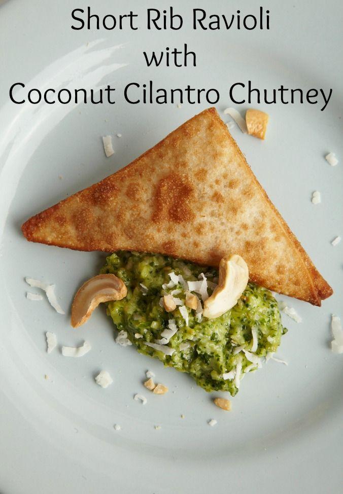 Slow Braised Short Rib Kreplach with Coconut Cilantro Chutney