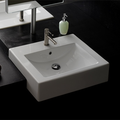 Low Profile Bathroom Sink : Scarabeo 8007DW Semi-Recessed Ceramic Washbasin With Overflow In White