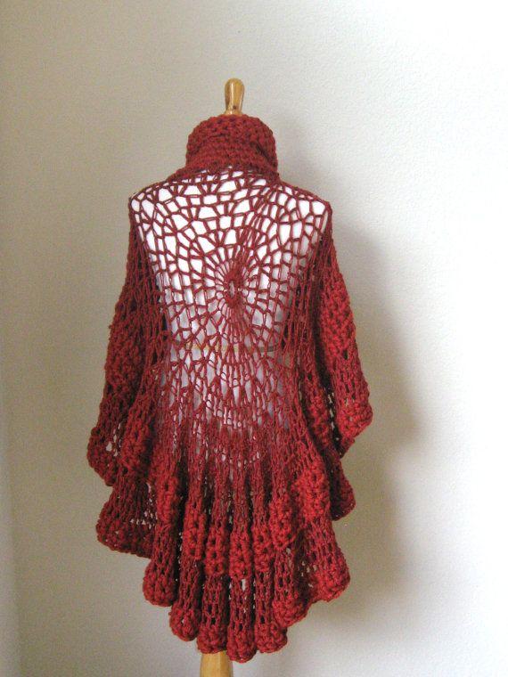 Knitting Pattern Turtleneck Capelet : RED CAPE PONCHO Crochet, Knit, Shawl, Sweater, Turtleneck Poncho, Boh?