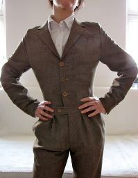 Jumpsuit refashioned from a man's suit. Tutorial by Of Dreams and Seams.