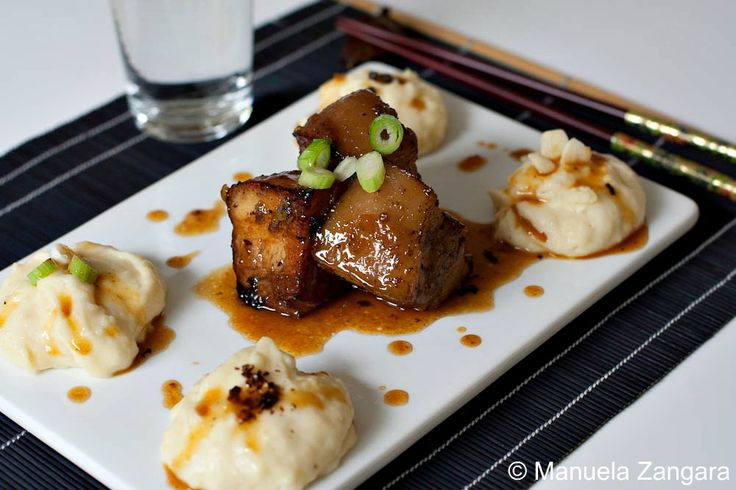 Braised Pork Belly with Caramel Miso Sauce.
