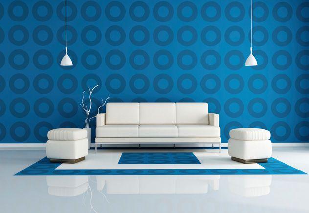Голубой всегда идеально сочетается с белым,  как безмятежные облака на небе или белая морская пена на глади голубой воды. В этой гостиной как...