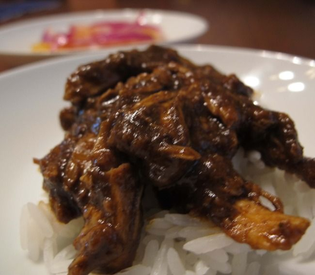chicken mole - yes, it's really shredded chicken with chocolate sauce ...