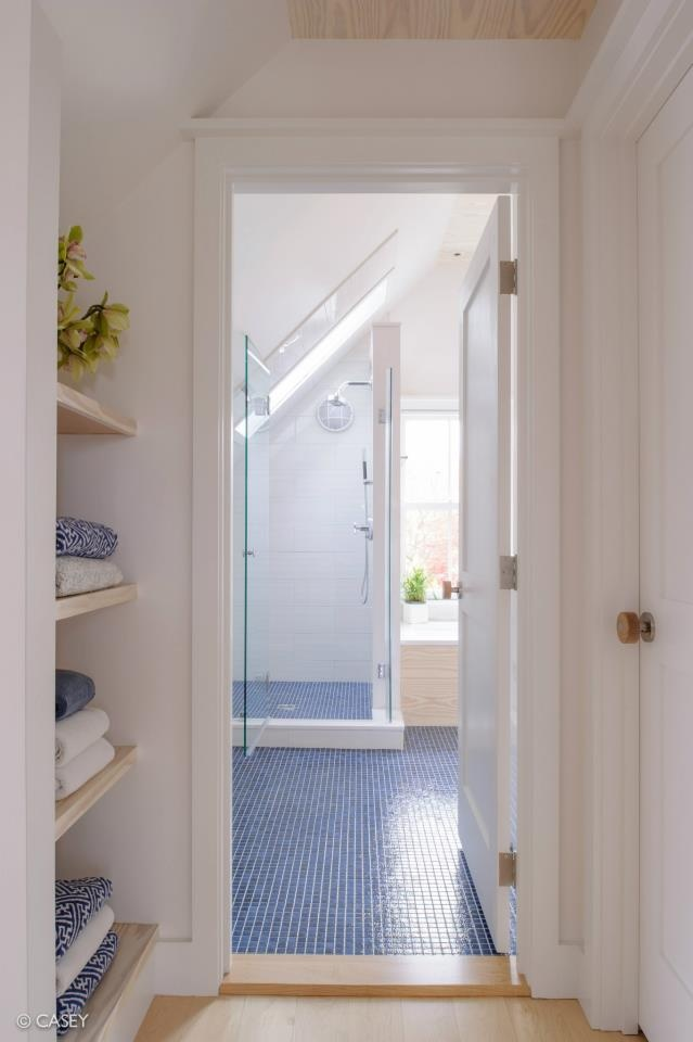 Pin by kelli masilun on for the home pinterest for Slanted ceiling bathroom ideas