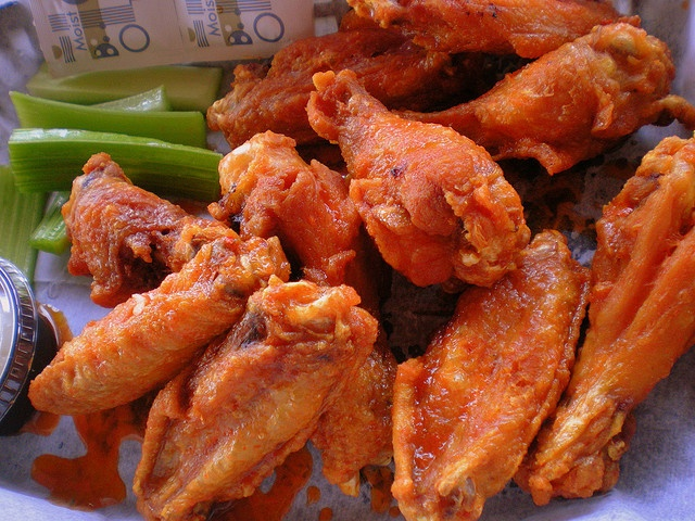 Hot Wings..my son in law makes them good and the boneless chicken ...