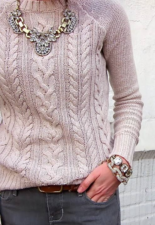 What's fantastic sweater , I don't like the necklace , costume jewelry I am not a fan of