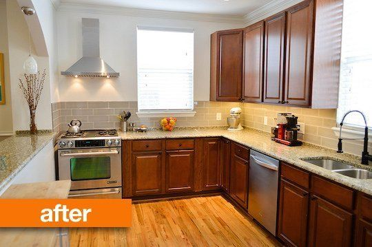before after a mini kitchen makeover on the cheap