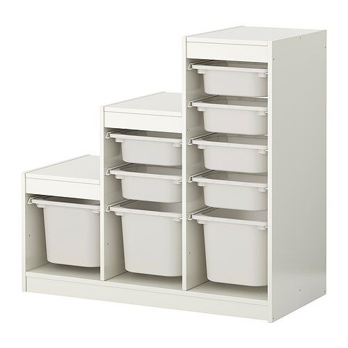 Storage combination with boxes, white, white
