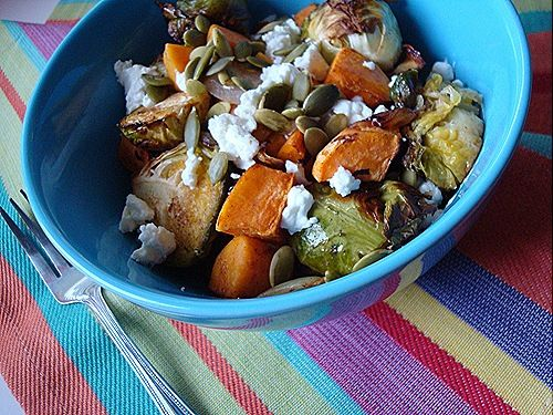 balsamic lentils with maple cinnamon roasted vegetables Brussels ...