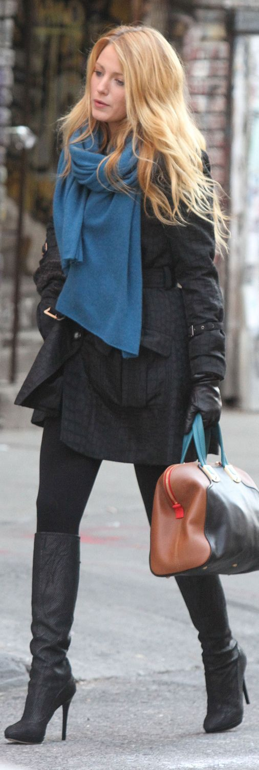 Blake Lively in Jimmy Choo Knee High Boots