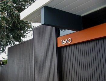 Brown black exterior with orange stripe eichler pinterest for Eichler paint colors