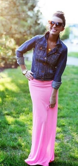 denim & hot pink