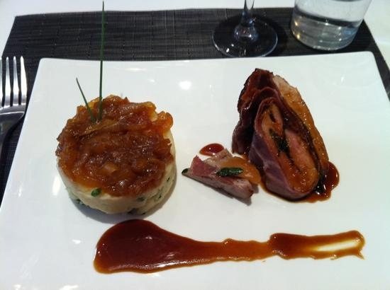 ... sage and Italian ham, served with celery root purée, onion confit an