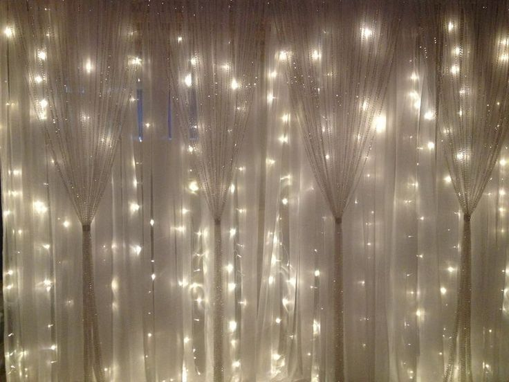 Long Curtain String Lights : white fabric, string lights, sparkle curtains Wedding Preparation & Inspiration Pinterest