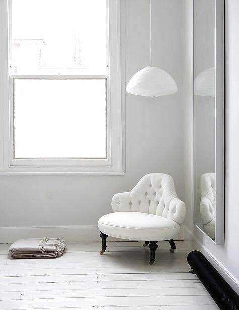 white on white - cute little princess chair. like the lighting too. maybe in a reading corner with little book shelf.