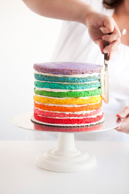 Use large square pans and fondant icing- rainbow circles on outside.