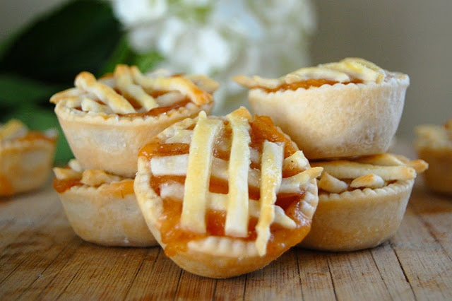 Mini peach pies. This is a great idea for showers.