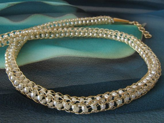 14K gold filled handmade wire crochet captured pearl necklace by DianaShyeJewelry