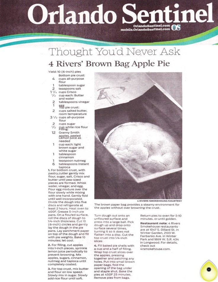 Rivers' Brown Bag Apple Pie | A little bit of everything... | Pinte ...