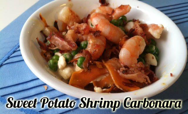 "Shrimp Carbonara ""Pasta""-An easy pasta on a sweet potato noodle bas..."