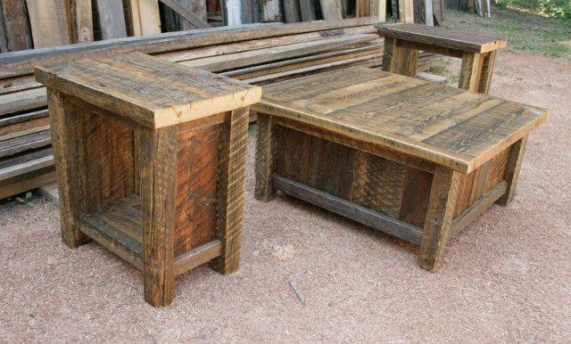 Reclaimed Barnwood Rustic Coffee End Table Set