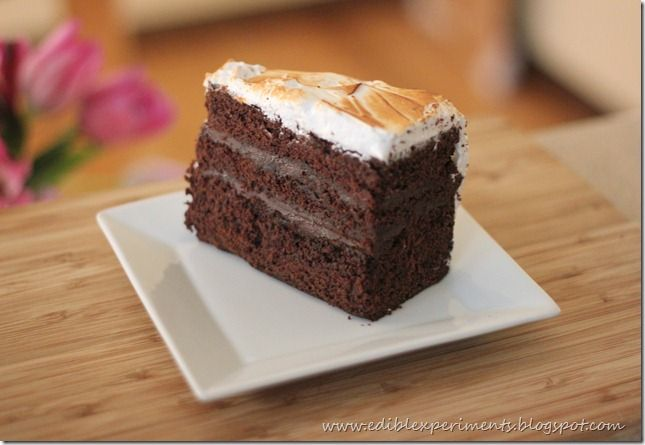 Chocolate Cake with Malted Ganache and Toasted Marshmallow Frosting