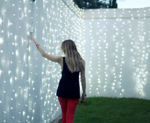 string twinkle lights in backyard flowers Pinterest