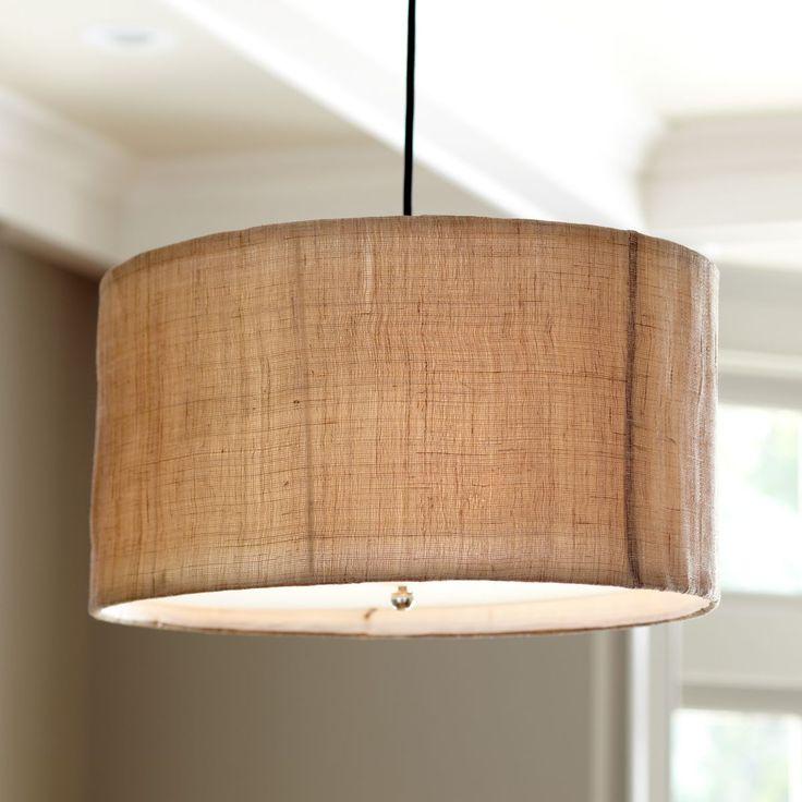 Natural woven 3 light pendant for Burlap lights